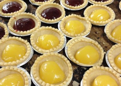 Jam & lemon tarts in production