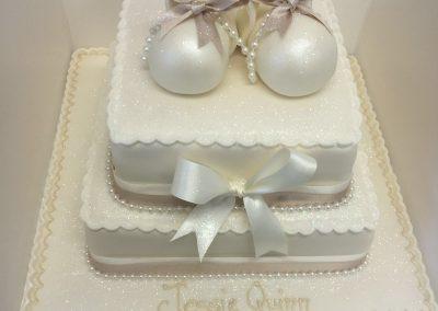 2 Tier Glitter Shoe Cake