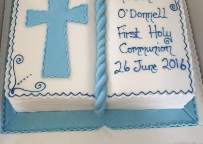 Blue Book with Cross Cake