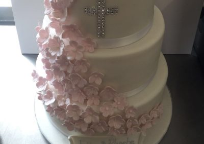 3 Tier Pink Flowers Cake