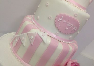 3 Tier Pink and White Cake