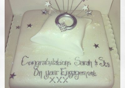Ring on Pillow Engagement Cake