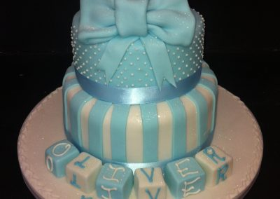 2 Tier Blue Bow