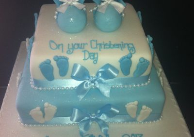 2 Tier Blue Shoe Cake