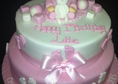2 Tier Baby and Teddy Cake
