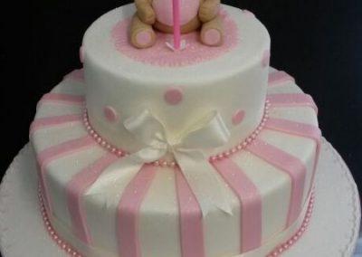 2 Tier Pink Bear Cake