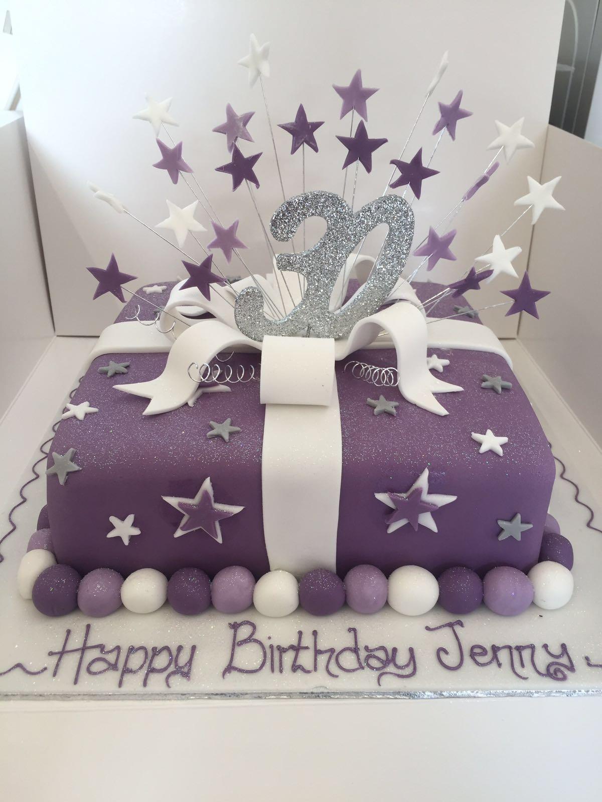 Super Purple Present And Stars Cake Peter Herd Funny Birthday Cards Online Chimdamsfinfo