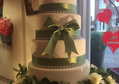 4 tier Green Ribbon Wedding Cake